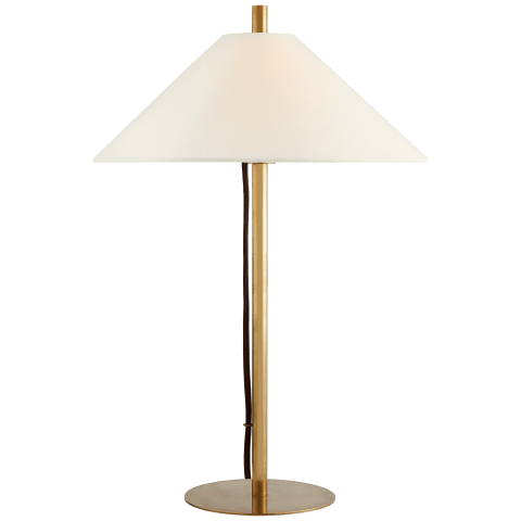 Dax Medium Table Lamp in Hand-Rubbed Antique Brass with Linen Shade