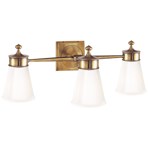 Siena Triple Sconce in Hand-Rubbed Antique Brass with White Glass