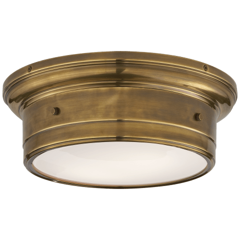 Siena Small Flush Mount in Hand-Rubbed Antique Brass with White Glass