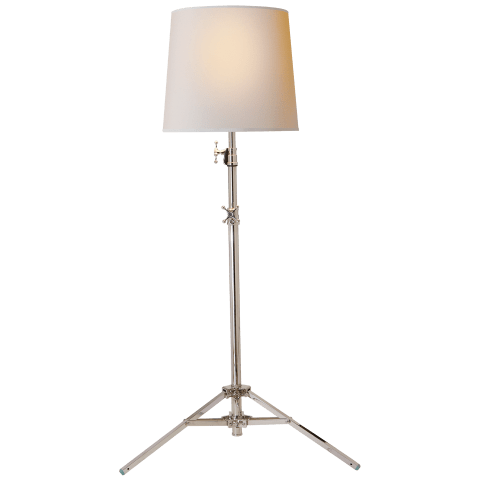 Studio Floor Lamp in Polished Nickel with Natural Paper Shade