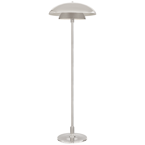 Whitman Floor Lamp in Polished Nickel with Polished Nickel Shade