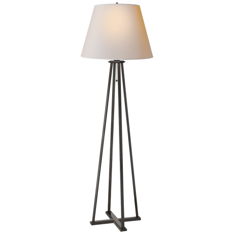 Hannah Floor Lamp in Aged Iron with Natural Paper Shade