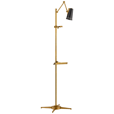 Antonio Articulating Easel Floor Lamp in Hand-Rubbed Antique Brass with Matte Black Shade