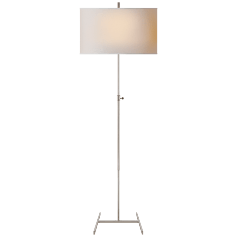Jake Adjustable Floor Lamp in Polished Nickel with Natural Paper Shade