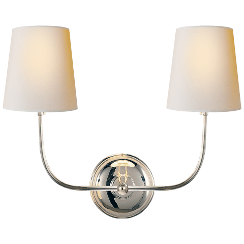 Vendome Double Sconce in Hand-Rubbed Antique Brass with Natural Paper Shades