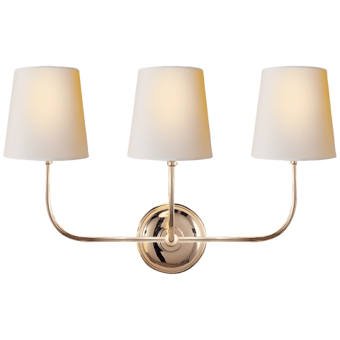Vendome Triple Sconce in Polished Nickel with Natural Paper Shades