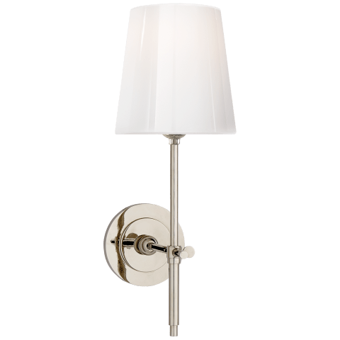 Bryant Sconce in Polished Nickel with White Glass