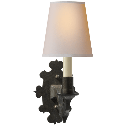 Leyland Sconce in Aged Iron with Natural Paper Shade