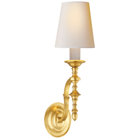 Chandler Single Sconce in Hand-Rubbed Antique Brass with Natural Paper Shade