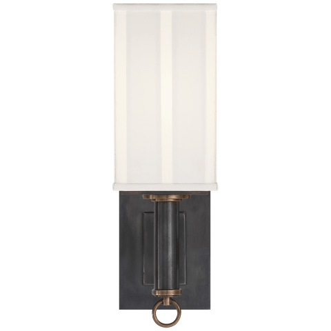 Germain Single Sconce in Bronze with Hand-Rubbed Antique Brass with Silk Pleated Shade