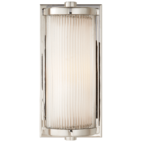 Dresser Short Glass Rod Light in Polished Nickel with Frosted Glass Liner