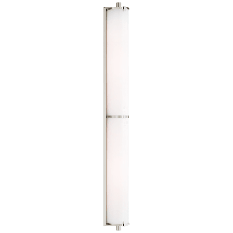 Calliope Over The Mirror Bath Light in Polished Nickel with White Glass