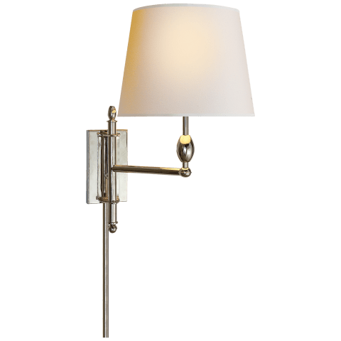 Paulo Pivoting Sconce in Polished Nickel with Natural Paper Shade