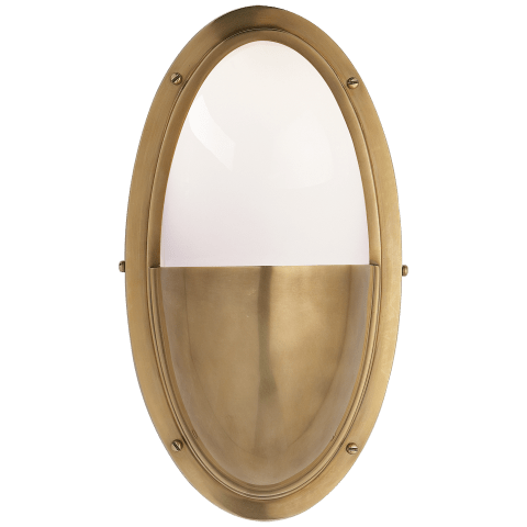 Pelham Oval Light in Hand-Rubbed Antique Brass with White Glass