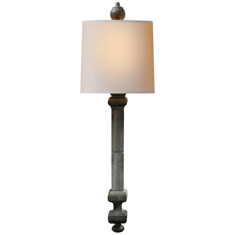 Aldo Railing Sconce in Dark Green with Natural Paper Shade