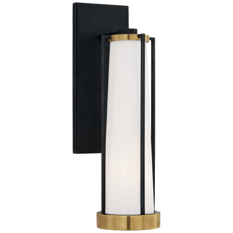 Calix Bracketed Sconce in Bronze and Brass with White Glass