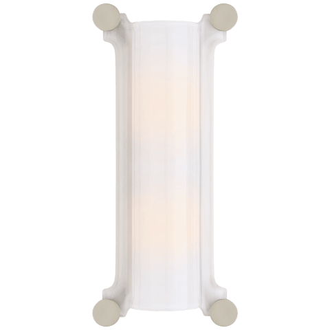 Chirac Tall Sconce in Polished Nickel with White Glass