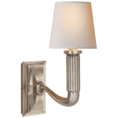 Gallois Sconce in Antique Nickel with Natural Paper Shade