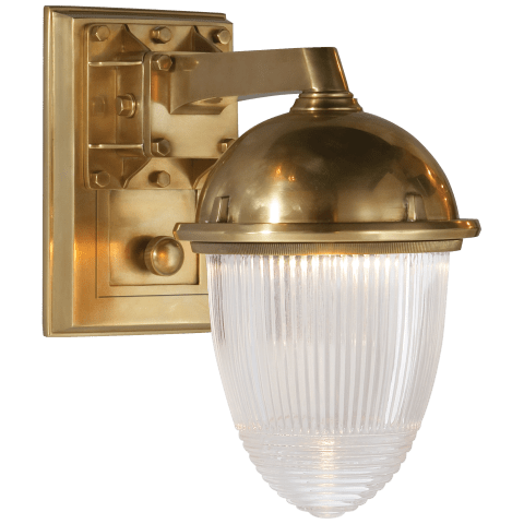 Garey Wall Light in Hand-Rubbed Antique Brass with Industrial Prismatic Glass