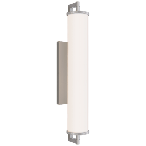 "Landis 24"" Bath Light in Polished Nickel with White Glass"