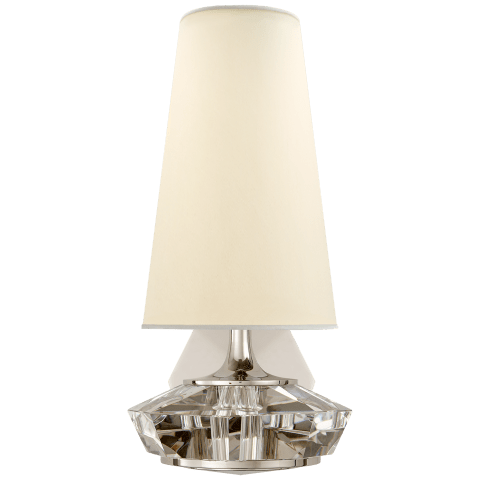 Santo Small Faceted Sconce in Polished Nickel and Crystal with Natural Percale Shade