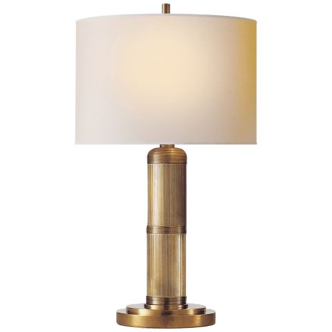 Longacre Small Table Lamp in Hand-Rubbed Antique Brass with Natural Paper Shade