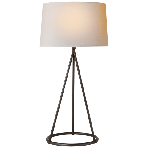 Nina Tapered Table Lamp in Aged Iron with Natural Paper Shade