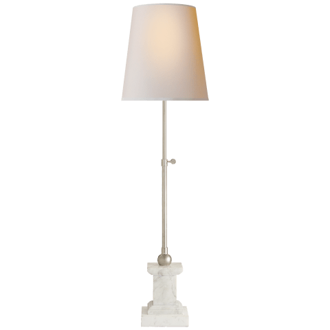 Brett Table Lamp in White Marble and Polished Nickel with Natural Paper Shade