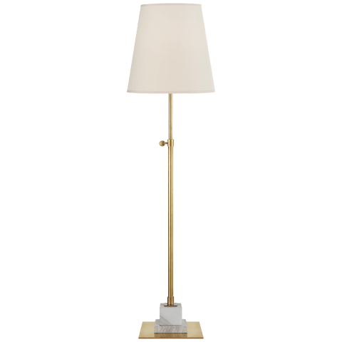 Eton Medium Adjustable Table Lamp in Antique Brass and White Marble with Natural Percale Shade