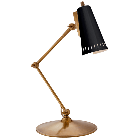 Antonio Articulating Task Lamp in Hand-Rubbed Antique Brass with Black Shade