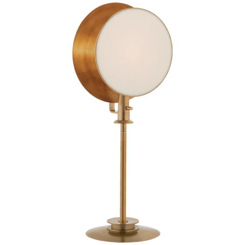 Osiris Reflector Adjustable Table Light in Hand-Rubbed Antique Brass with Linen Diffuser