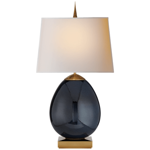 Ciro Large Table Lamp in Mixed Blue Brown with Natural Paper Shade