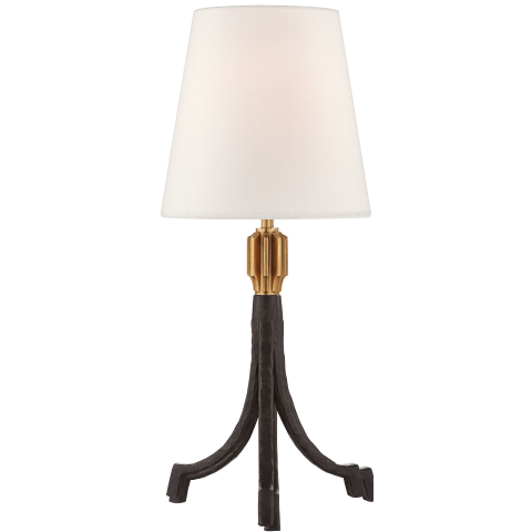 Arturo Forged Accent Lamp in Aged Iron and Brass with Linen Shade