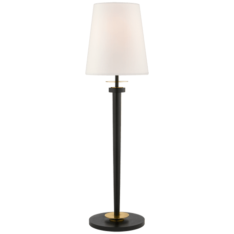 Vivier Buffet Lamp in Blackened Iron and Hand-Rubbed Antique Brass with Linen Shade