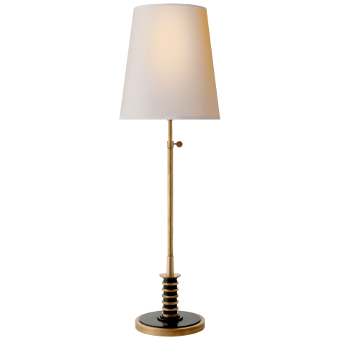 Banks Table Lamp in Hand-Rubbed Antique Brass and Bronze with Natural Paper Shade