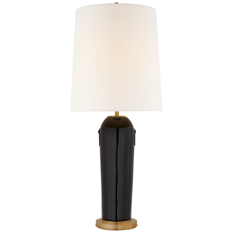 Tiang Large Table Lamp in Black with Linen Shade