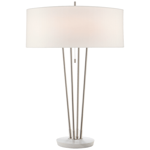 Stefano Large Table Lamp in Polished Nickel and White Marble with Linen Shade