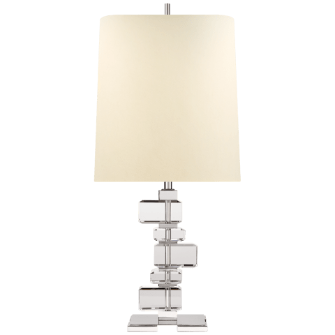 Moreau Large Table Lamp in Polished Nickel and Crystal with Natural Percale Shade