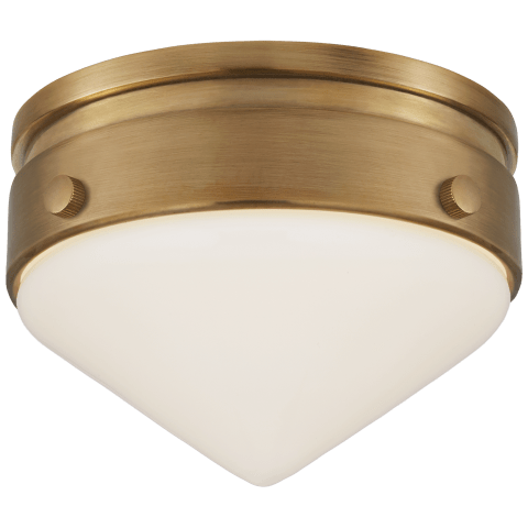 "Gale 5.5"" Solitaire Flush Mount in Hand-Rubbed Antique Brass with White Glass"
