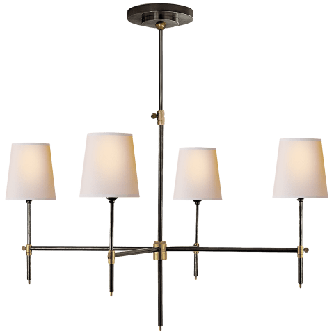 Bryant Large Chandelier in Hand-Rubbed Antique Brass with Natural Paper Shades