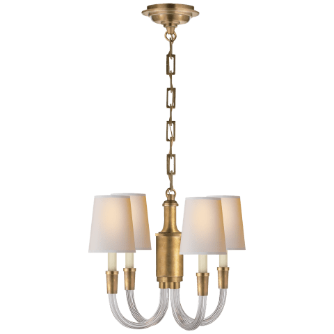 Vivian Mini Chandelier in Polished Nickel with Natural Paper Shades