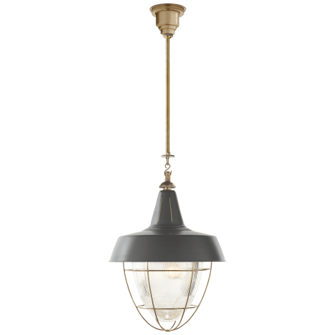Henry Industrial Hanging Light in Hand-Rubbed Antique Brass with Green Shade