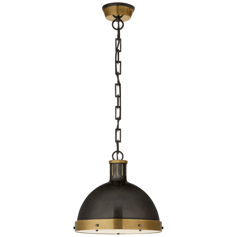 Hicks Large Pendant in Antique Nickel with Acrylic Diffuser