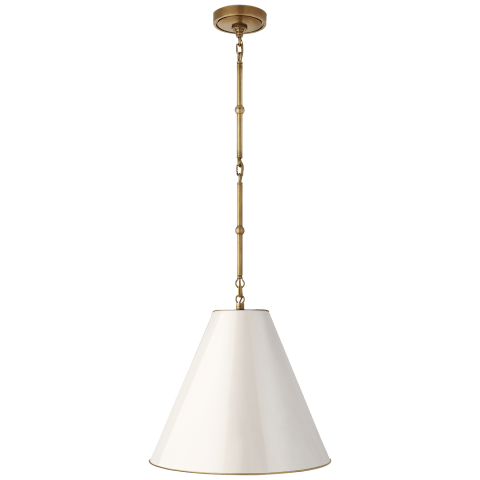 Goodman Small Hanging Light in Hand-Rubbed Antique Brass with Hand-Rubbed Antique Brass Shade