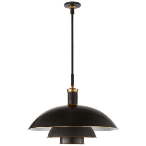 Whitman Large Pendant in Bronze and Hand-Rubbed Antique Brass with Brass Trimmed Bronze Shade