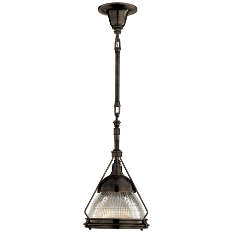 Garey Small Industrial Pendant in Bronze with Industrial Prismatic Clear Glass