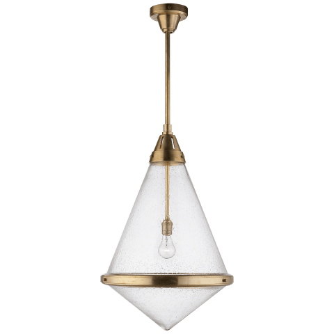 Gale XL Pendant in Hand-Rubbed Antique Brass with Seeded Glass