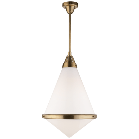 Gale XL Pendant in Hand-Rubbed Antique Brass with White Glass