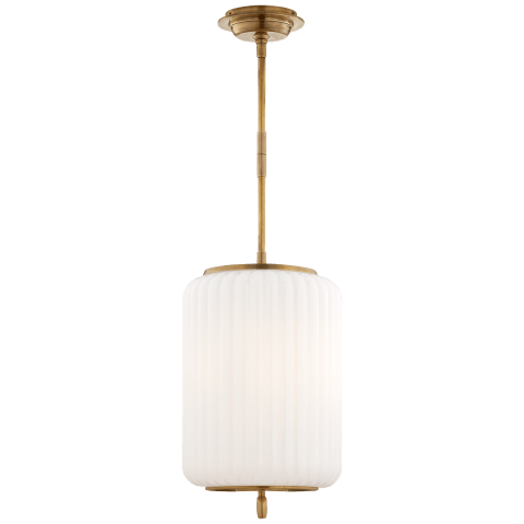 Eden Large Pendant in Hand-Rubbed Antique Brass with White Glass