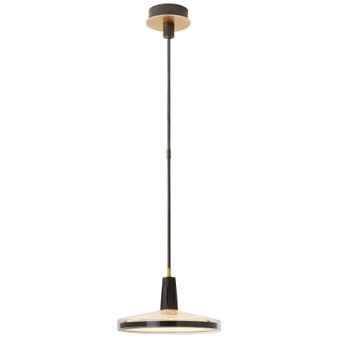 Nikos Medium Pendant in Bronze and Brass with Clear Glass